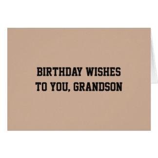 Geburtstag wünscht für Enkel, Schwarzes auf Tan. Grußkarte