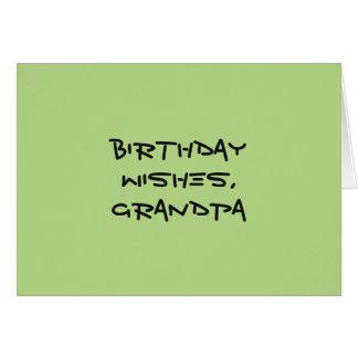 Geburtstag wünscht für Großvater, Schwarzes auf Grußkarte
