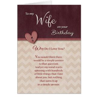 Geburtstag zur Ehefrau - warum tun i-Liebe Sie? Grußkarte