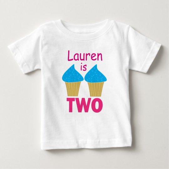 Geburtstag ZWEI, blauer kleiner Kuchen (Rosa) Baby T-shirt