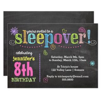 Geburtstagc$einladung-sleepover-Party, Kreide + Karte