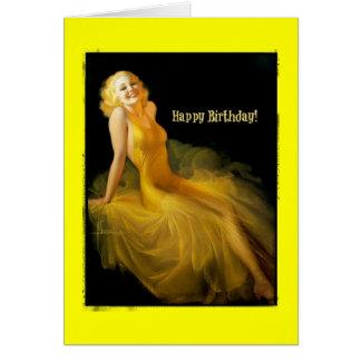 GeburtstagPinup im Gelb Karte