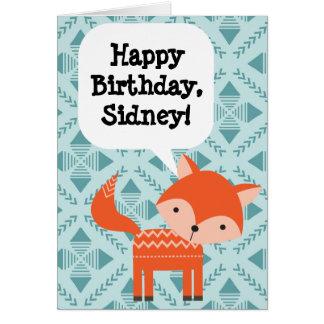 Geburtstagroter Fox der kundenspezifische der Grußkarte