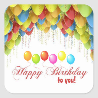 Geburtstags-Aufkleber des Ballon-wow Quadratischer Aufkleber