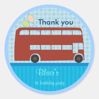 Geburtstags-Aufkleber: London-Bus Runder Aufkleber