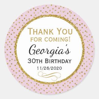 Geburtstags-Aufkleber-rosa Gold danken Ihnen, Runder Aufkleber