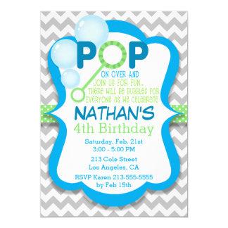 Geburtstags-Blasen-Pop-blaue u. grüne Party Karte
