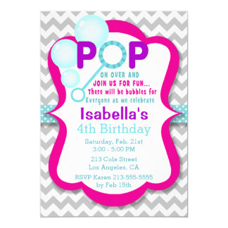 Geburtstags-Blasen-Pop-rosa u. lila Party 12,7 X 17,8 Cm Einladungskarte
