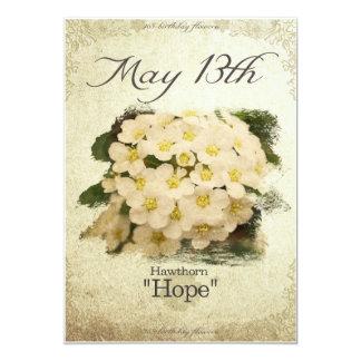 """Geburtstags-Blumen am 13. Mai """"Weißdorn """" Karte"""