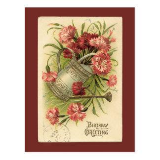 Geburtstags-Blumen-Bewässerungs-Dosen-Vintage Postkarte