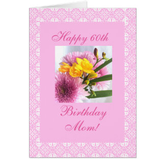 Geburtstags-Blumen Freesia der Mutter 60. Karte
