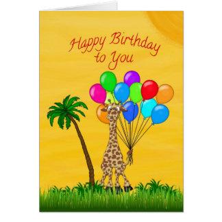 Geburtstags-Giraffe Grußkarte