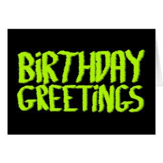 Geburtstags-Grüße. Grün und Schwarzes. Gewohnheit Karte