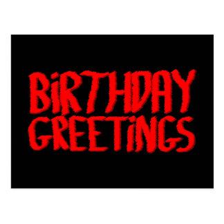 Geburtstags-Grüße. Rot und Schwarzes Postkarte