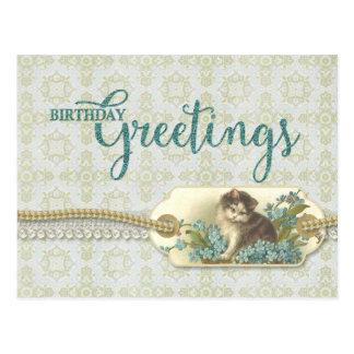 Geburtstags-GrüßeVintage Kitty-Wiedergabe Postkarte