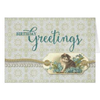 Geburtstags-GrüßeVintager Kittyumbau Karte