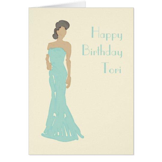 Geburtstags-Grußkarte Dame trägerlose Kleider Karte