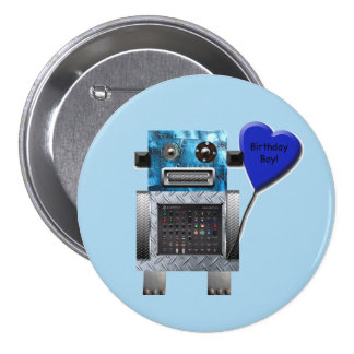 Geburtstags-Jungen-Roboter-Party-Knopf Runder Button 7,6 Cm