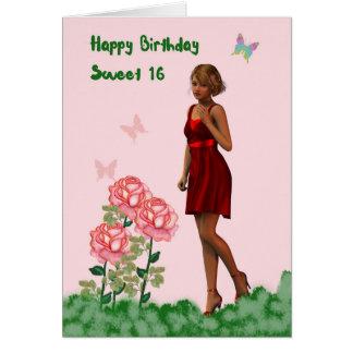 Geburtstags-Karte des Bonbon-16 mit junger Dame Grußkarte