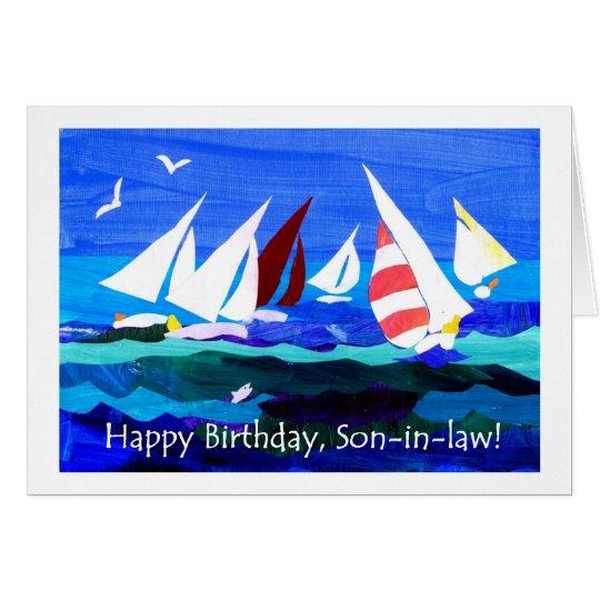 Geburtstags-Karte für einen Schwiegersohn - Segeln Grußkarte