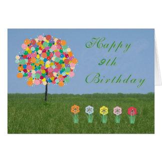Geburtstags-Karte mit Bubblegum Baum 9 Jahr. Altes Grußkarte