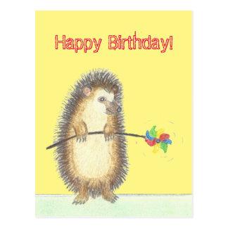 Geburtstags-Karte mit einem niedlichen Igel Postkarte