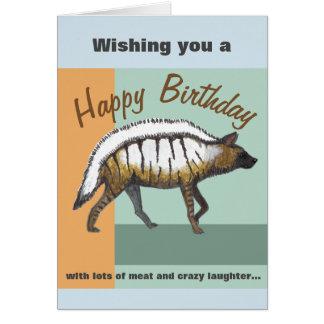 Geburtstags-Karte mit einer Hyäne und lustigen Grußkarte