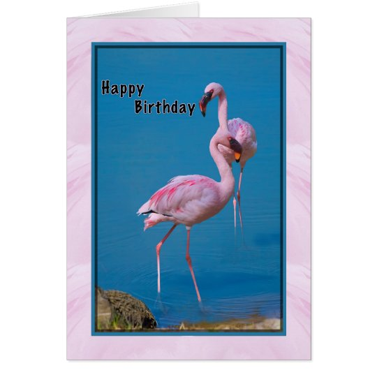 Geburtstags-Karte mit rosa Flamingo Karte