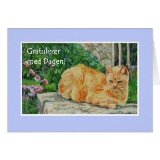 Geburtstags-Karte, norwegischer Gruß, Ingwer-Katze Grußkarte
