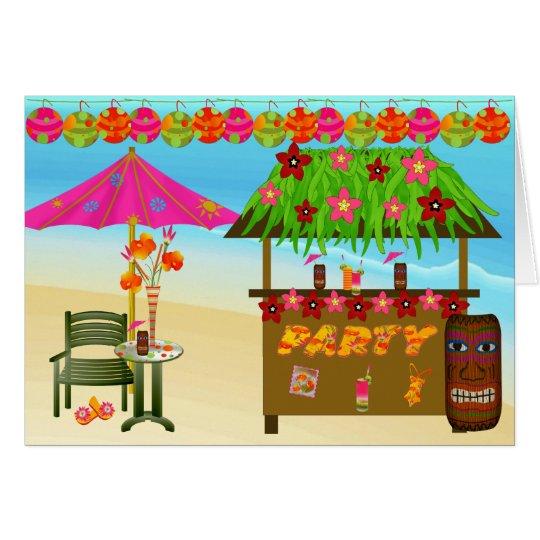 Geburtstags-Karte-Tropisches Strand-Party Karte