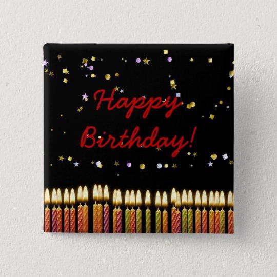 Geburtstags-Kerzen Quadratischer Button 5,1 Cm