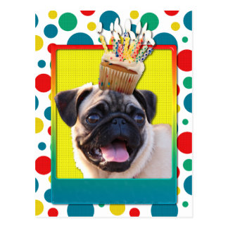 Geburtstags-kleiner Kuchen - Mops Postkarte
