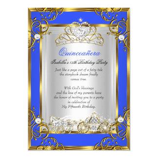 Geburtstags-Kobalt-Blau Prinzessin-Quinceanera 15. 12,7 X 17,8 Cm Einladungskarte
