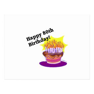 Geburtstags-Kuchen 80. Postkarte