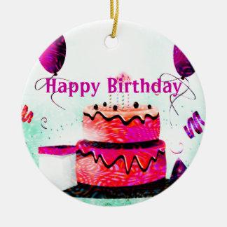 Geburtstags-Kuchen u. Ballon-Party im Rosa Keramik Ornament