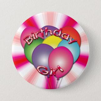 Geburtstags-Mädchen steigt Knopf im Ballon auf Runder Button 7,6 Cm