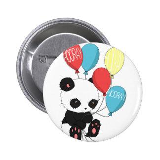Geburtstags-Panda mit Ballonen Runder Button 5,7 Cm