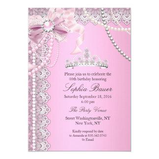 Geburtstags-Party A Prinzessin-Pink Pearl Bow Lace 12,7 X 17,8 Cm Einladungskarte
