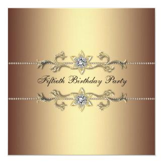 Geburtstags-Party Einladung der Frau 50. Gold Quadratische 13,3 Cm Einladungskarte