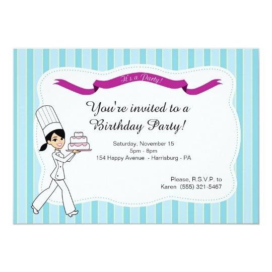 Geburtstags-Party Einladung mit Kuchen