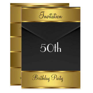 Geburtstags-Party Einladungs-Gold50. Karte