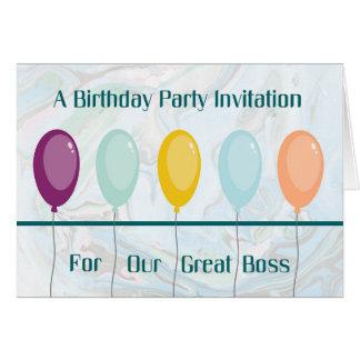 Geburtstags-Party Einladungs-Karte für Chef Grußkarte