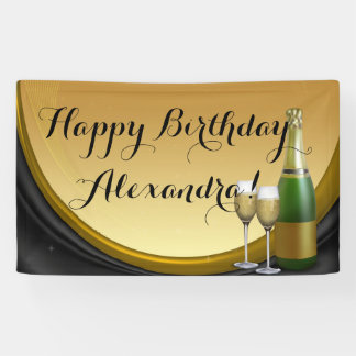 Geburtstags-Party-Fahne Goldchampagne Banner