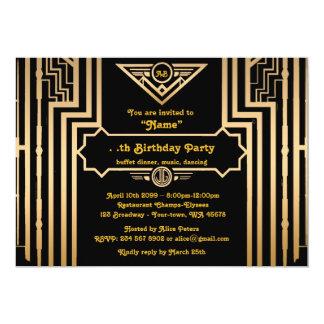 Geburtstags-Party, Gatsby Art, Kunst-Deko, 12,7 X 17,8 Cm Einladungskarte