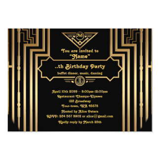 Geburtstags-Party, Gatsby Art, Kunst-Deko, Karte