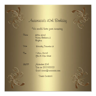 Geburtstags-Party-Goldblumen40. Karte