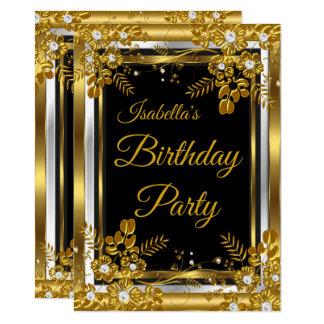 Geburtstags-Party-GoldSchwarz-weißer Diamant mit Karte