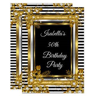 Geburtstags-Party-GoldSchwarz-weißer Streifen mit Karte