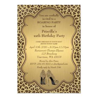 Geburtstags-Party, irgendein Alter, Cheetah-hohe Karte