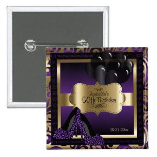 Geburtstags-Party   lila und Gold Quadratischer Button 5,1 Cm
